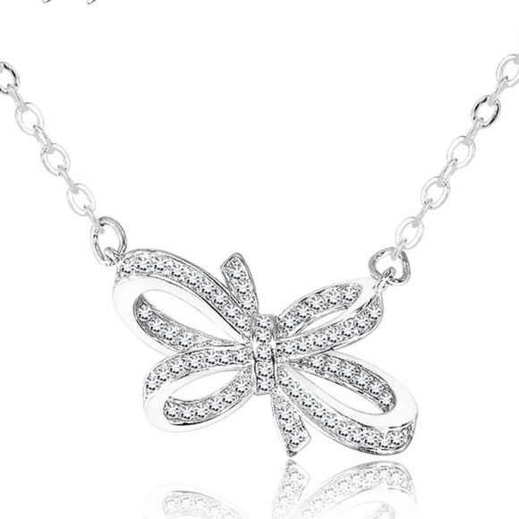 Jewelry - NEW 💎 925 Sterling Silver Bow Necklace